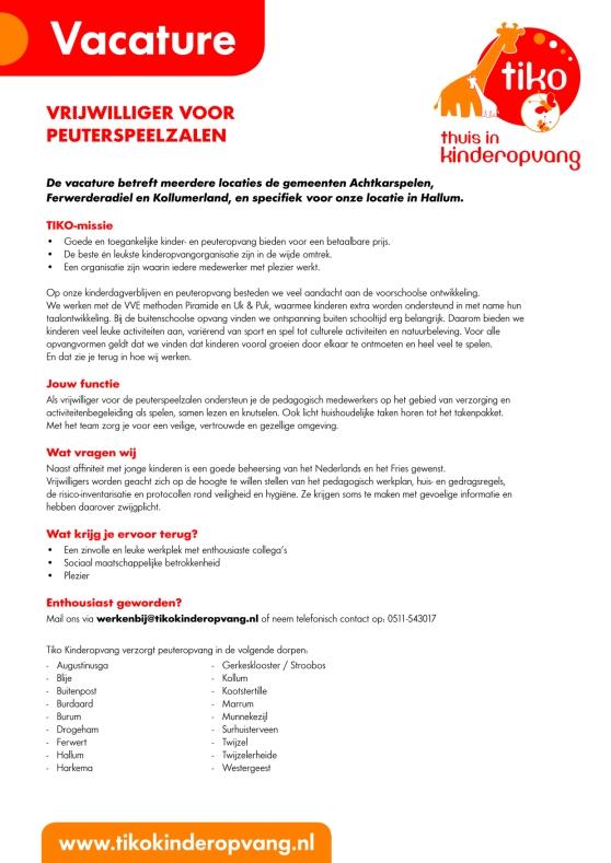 Vacature vrijwilliger peuterspeelzalen A4 september 2018